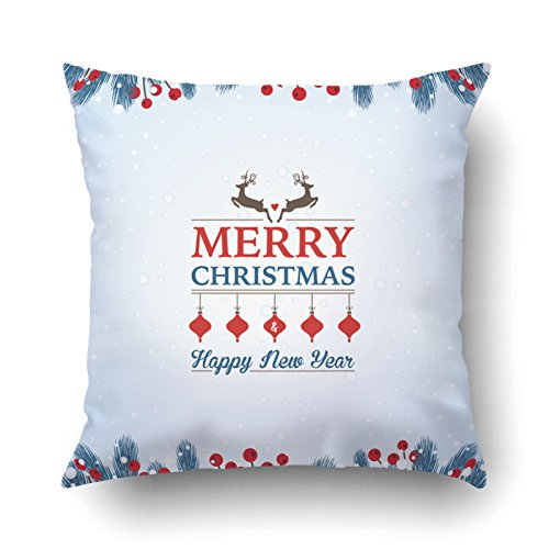 Asian Border Square Banner (Emvency Pillowcases Xmas Dec Merry Christmas And Happy New Year Greeting Blue And Red Pillow Case Cushion Cover Case Throw Pillow Case Square 18x18 Inch)