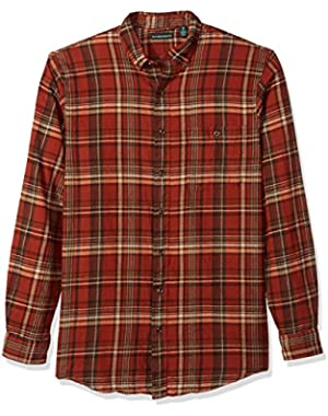 Men's Big and Tall Fireside Flannel Plaid Long Sleeve Shirt