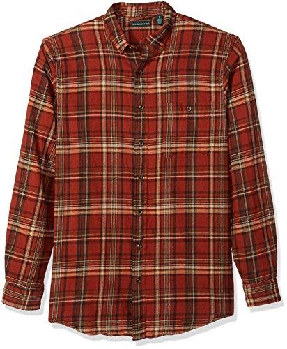 G.H. Bass & Co. Men's Big and Tall Fireside Flannels Long Sleeve Button Down Shirt, Arabian Spice, - Flannel Sleeve Long