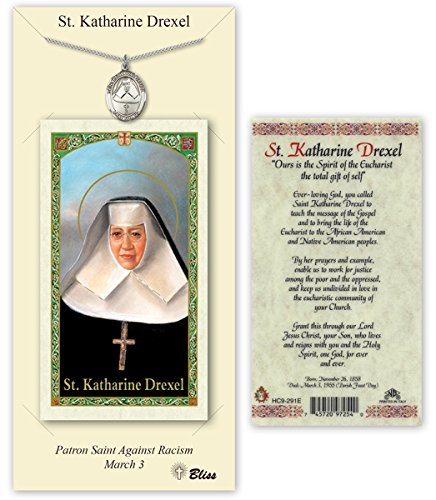Pewter Saint Katharine Drexel Medal with Laminated Holy Prayer - Pendant Drexel Katharine Medal