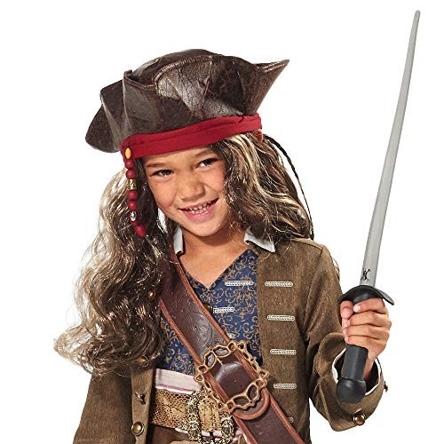 Disney Jack Sparrow Pirate Hat and Wig for Kids - Pirates of The Caribbean: Dead Men Tell No Tales Multi -