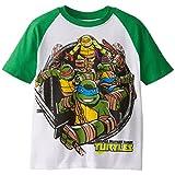 Teenage Mutant Ninja Turtles Big Boys' Short Sleeve Raglan T-Shirt Shirt, White/Kelly, Large/  14/16