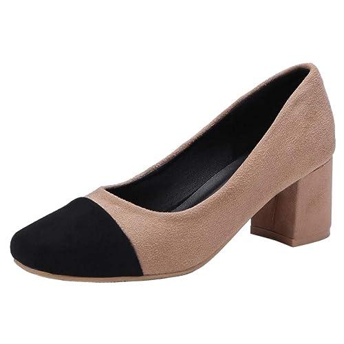 7cdcd079 BeiaMina Mujer Moda Tacon Medio Bombas Zapatos Sin Cordones: Amazon.es:  Zapatos y complementos