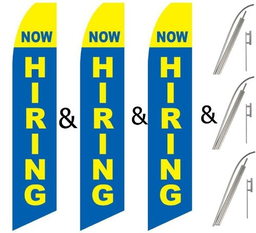 Three (3) Pack Swooper Flags & Pole Kits Now Hiring Yellow Light Blue