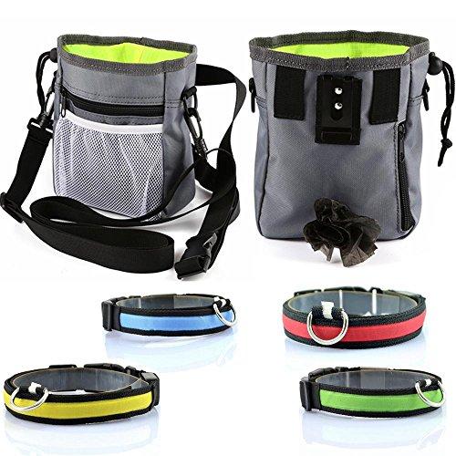Dog Treats Pouch Potty Training Bag Dispenser Equipment kit – Free Glow Collar Free Dog Treat Samples