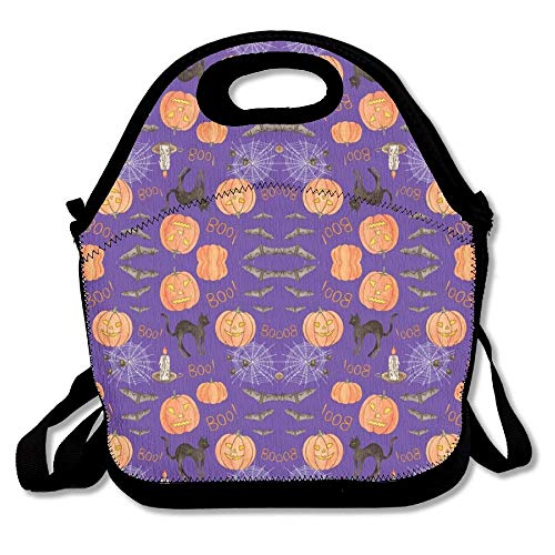 Halloween Boo! Wallpaper Insulated Lunch Box Tote Bag With Shoulder Strap By Bouble, Perfect Brand For Women, Men & Kids