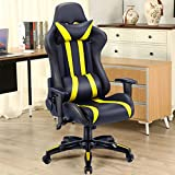 Giantex Executive Racing Style High Back Reclining Chair Gaming Chair Office Computer (Black+Yellow)