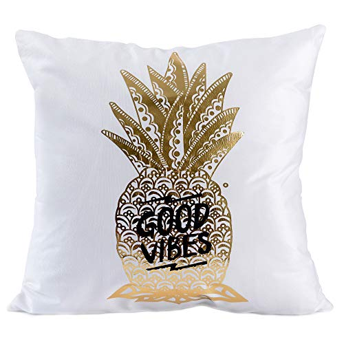 "Kingla Home Cute Pillow Cases Gold Pineapple Decorative Throw Pillow Covers 18""x18"" Couch Cushion Covers"