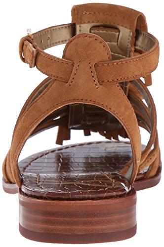 Sandalia Sam Edelman Estelle en gamuza marrón cuero con franjas Saddle