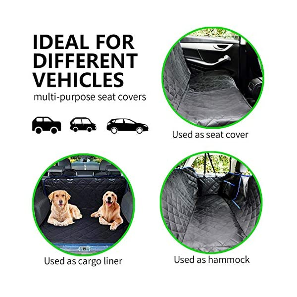 SUPSOO Dog Car Seat Cover Waterproof Durable Anti-Scratch Nonslip Back Seat Pet Protection Dog Travel Hammock with Mesh Window and Side Flaps for Cars/Trucks/SUV 4