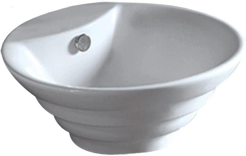 Whitehaus Collection WHKN1054-WH Whitehaus WHKN1054 Isabella Round Stepped Above Mount Basin, White