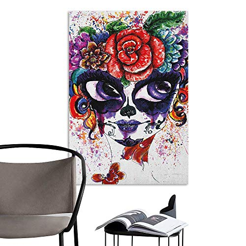 (Jaydevn Wall Stickers Sugar Skull Watercolor Painting Style Girl Face with Make Up and Floral Crown Big Eyes Multicolor Creative Self-Adhesive W16 x)