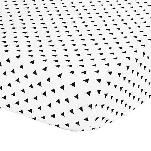 Black Triangle Print Fitted Crib Sheet - 100% Cotton Baby Boy and Girl Geometric Patterns Nursery and Toddler Bedding