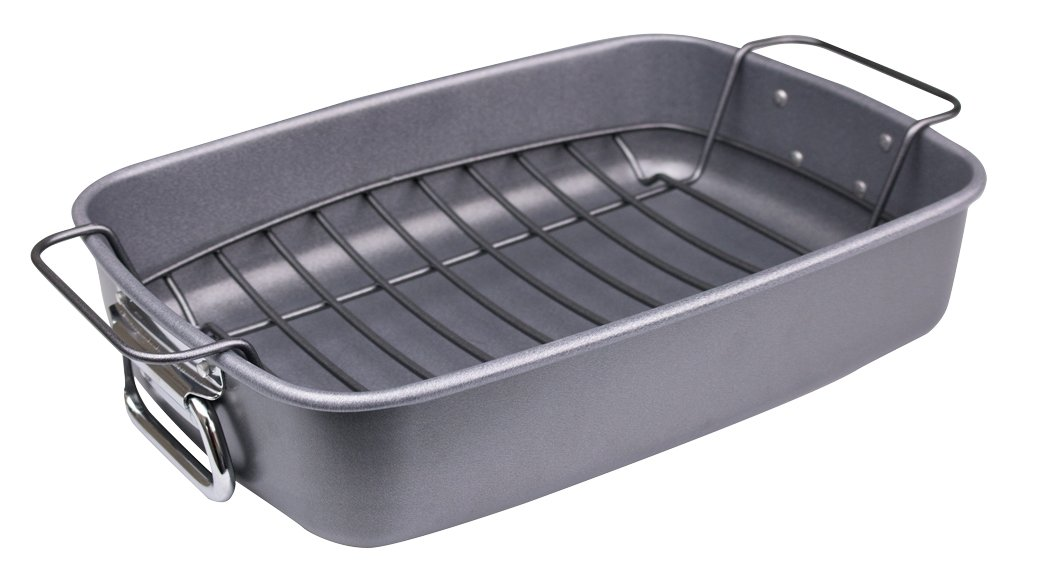 Premium Heavy Gauge Medium (33 x 24.5 x 7.5 cm) Roaster/Roasting tin with Rack and Side Handles - with Teflon ® Non Stick - Made in The UK Pargat Housewares