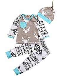Newborn Baby Girls Boy Deer Long Sleeve Tops T-shirt Pants Hat 3pcs Outfits Set