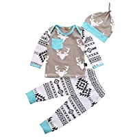 Newborn Baby Girls Boy Deer Long Sleeve Tops T-shirt Pants Hat 3pcs Outfits S...