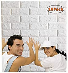 Description               Name: 3D Wall Panels Item No.: AH601-10Color:WhiteMaterial: Soft PE foamSize: 2.52ft x 2.26ft (77cm x 69cm)Packing: 10 PCSCoverage: 56 sq feet Feature: ✔ Self Adhesive Peel and stick 3d wall Panel, no...