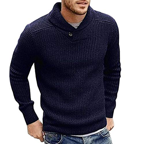 Fashion Knitted Sweater, Men Long Sleeve Solid Sweatshirts Pullover Tops Blouse T Shirt