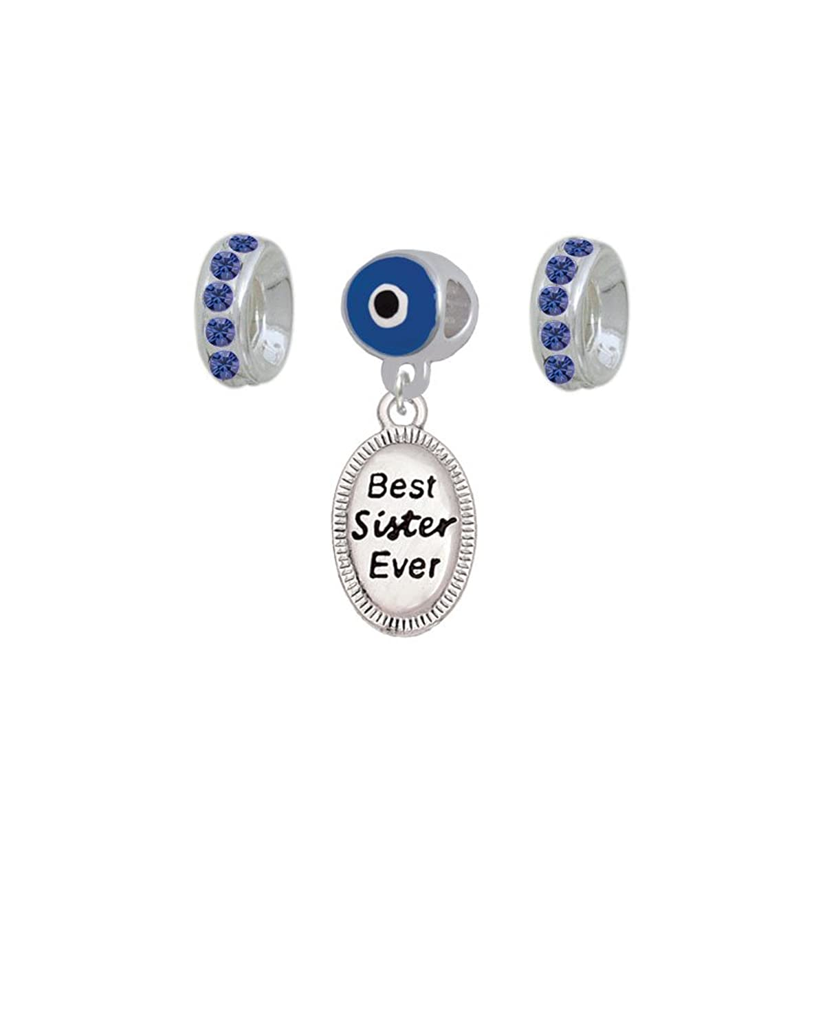 Best Sister Ever Oval Evil Eye Charm Hanger with Crystal Rondelle Beads (Set of 3)