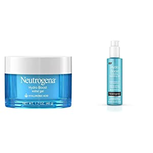 Neutrogena Hydro Boost Hyaluronic Acid Hydrating Water Gel Daily Face Moisturizer, 1.7 fl. oz and Neutrogena Hydro Boost Hydrating Gel Cleanser, 6 Ounce