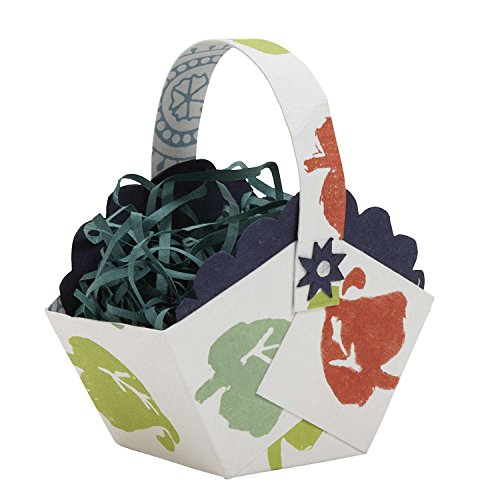 Cheerful Paper Basket With Paper Shreds 'Paper Easter Basket White'