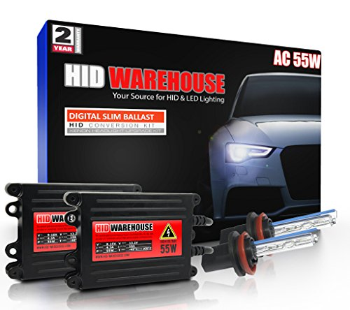 Hid Lighting Kit - HID-Warehouse AC 55W HID Xenon Conversion Kit with Premium Slim Ballast - H11 5000K - Bright White - 2 Year Warranty
