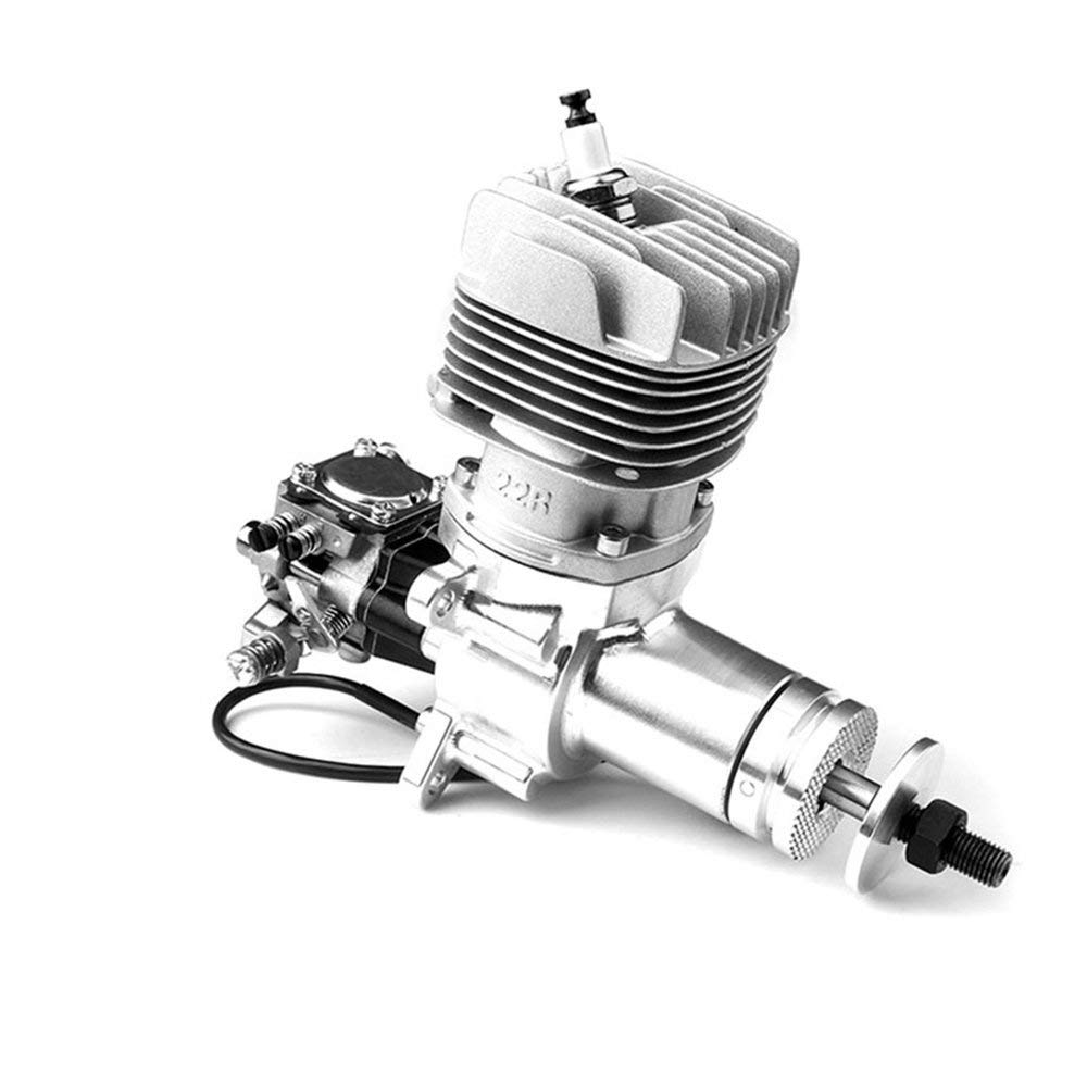 Erduo GP22R 22CC Hinteres Auspuffrohr mit luftgekühltem Benzin-seitlichem Auslassmetallmotor Handziehstarter für RC Flugzeuge - Grau