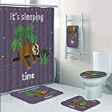 Bathroom 5 Piece Set shower curtain 3d print Multi Style,Sloth,Cute Cartoon Character Sleeping on Branch Jungle Animal in Night Sky Kids Theme,Plum Brown Green,Bath Mat,Bathroom Carpet Rug,Non-Slip,Ba