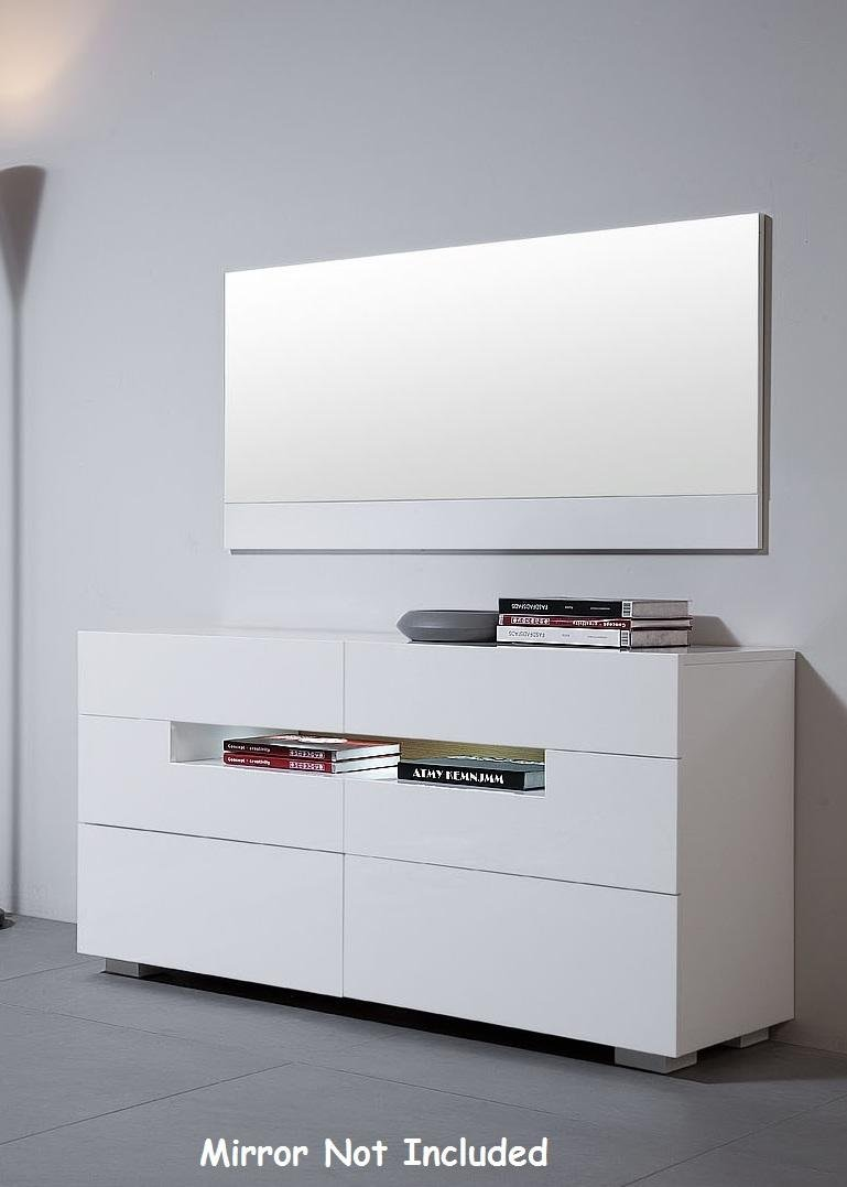 VIG Furniture VGWCCG05D-WHT Modrest Ceres 55'' Wide Dresser with 6 Self-Closing Drawers LED Lighting and White High Gloss