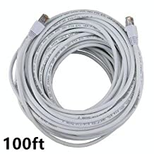 PrimeCables® White High Quality Cat6 550MHz UTP RJ45 Ethernet Bare Copper Network Cable (100ft)