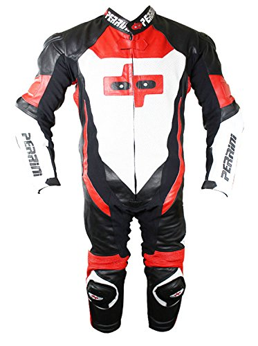 Perrini 1 Pc Red White & Black Genuine Cow Hide Leather Motorbike Riding Motorcycle Racing Suit ()