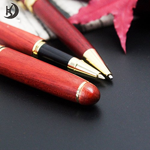 Rosewood Pen Set (PA3001) - 2 Handcrafted Wooden Ballpoint & Gel Gift Pen Set with Matching Wooden Box by BG247