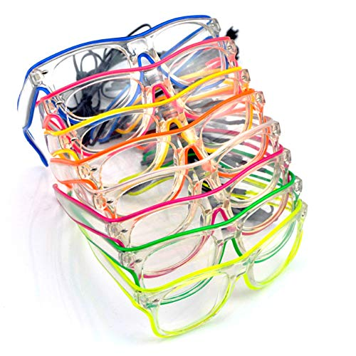 Taykoo Halloween Glow Eye Glasses,El Wire LED Sunglasses,Glow