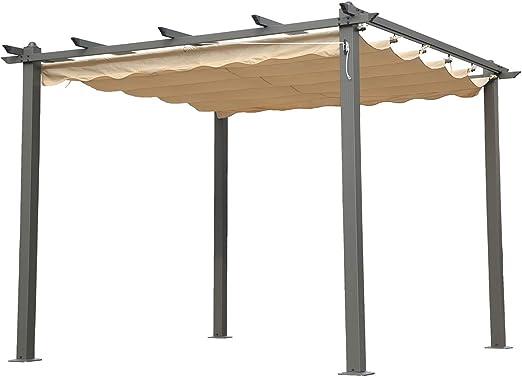 Angel Living 3X3m Pérgola de Aluminio con Techo Retráctil, Cenador con Tela de Poliéster Resistente al Agua y a UV, Uso para el Exterior: Amazon.es: Jardín