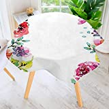 UHOO2018 Round Tablecloth-Decor Collection Floral Frame with Summer Flowers Roses Natural Picture Pink Navy Blue Round Circular Solid Polyester Tablecloth 43.5'' Round