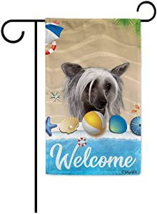 BAGEYOU Welcome Summer My Love Dog Chinese Crested in The Beach Decorative Garden Flag Lovely Puppy Seastar Shell Volleyball Decor Seasonal Banner for Outside 12.5 x 18 Inch Print Double Sided