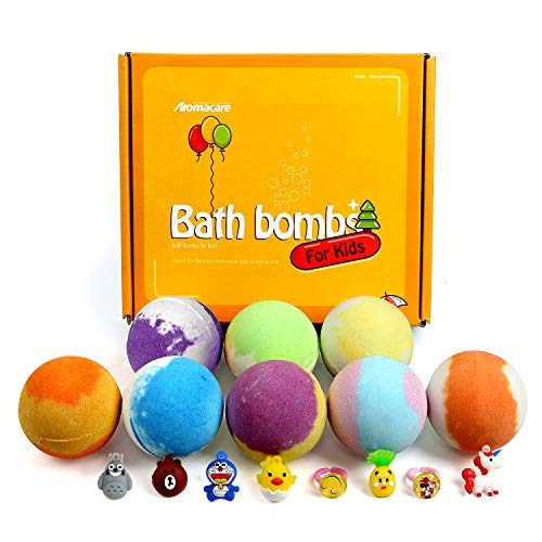 Bath Bombs for Kids with Toys Inside 8 Packs, Natural Bath Fizzers with Suprises for Girls Boys, Mild and Gentle,Great Gift Ideas for Birthday Christmas