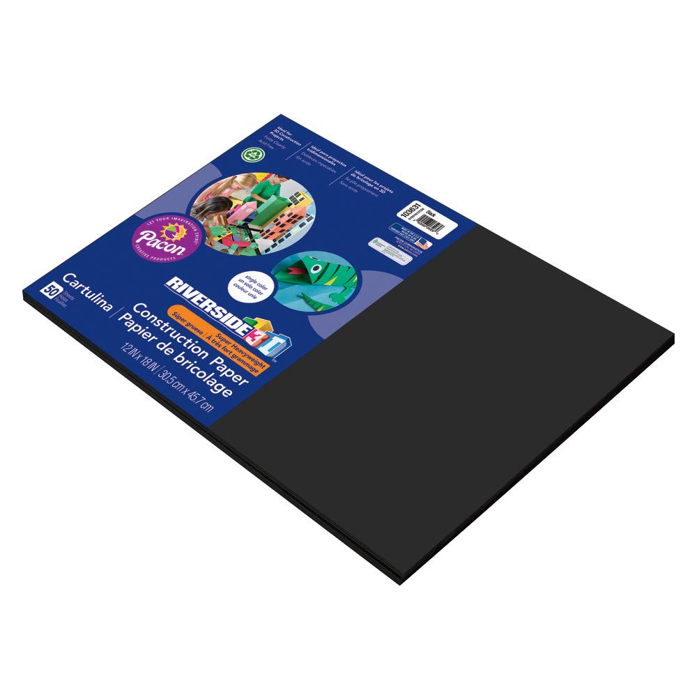 Riverside 3D Construction Paper, Black, 12 x 18, 50 Sheets 12 x 18 Pacon PAC103631