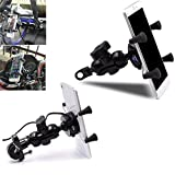 Universal X-Grip 2 in 1 Motorcycle Bike Mount Bracket Stand Holder with USB Charger for Mobile Phone GPS