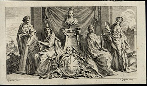 Allegory Women Britannia Queen Muses 1751 scarce old antique engraved print
