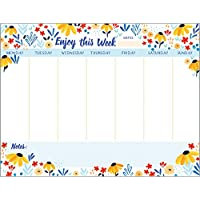 Gina B Designs Black Eyed Susans Weekly Planner Pad with Attachable Magnet