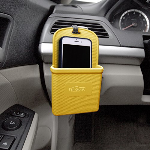 FH Group FH3022YELLOW Yellow Silicone Car Vent Mounted Phone Holder (Smartphone works with IPhone Plus Galaxy Note Yellow Color) ()