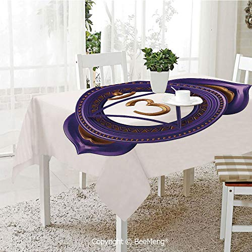 (Spring and Easter Dinner Tablecloth,Kitchen Table Decoration,Chakra Decor,Asian Ethnic Occult Sign with Iconic Elements Esoteric Culture Boho Design,Purple Gold,59 x 83 inches)
