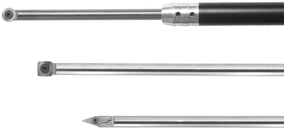 Wood Turning tool Carbide Tipped Lathe Full Size Finisher/Rougher/Detailer Tool Set(3pcs Bar+1pcs Handle) With Round/Square/Diamond Carbide Insert and Screw and Star Key Wrench