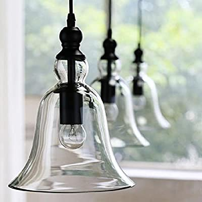Fashine 1 Light Vintage Style Hanging Big Bell Glass Shade Transparent/Clear Chandelier Ceiling Light Lamp Pendant Lights for Home Dining Room Kitchen Bedroom Cafe Bar Club(US Stock)