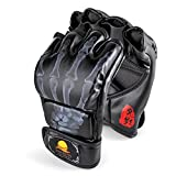 Flexzion Half Finger Boxing Gloves (Black) - Grappling MMA Muay Thai UFC Sparring Punch Ultimate Mitts Sanda Fighting Training Sandbag Equipment Pair for Adult Men