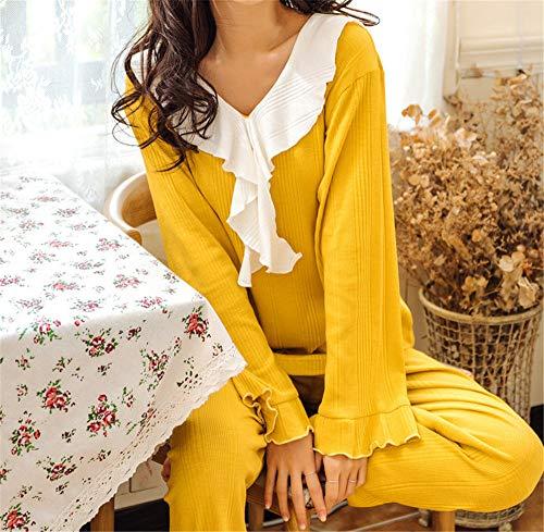 Lindos Para Yellow Conjunto Hogar Pijamas Larga Encaje El De Dulces Manga Mujer Mmllse HgRn4Txx