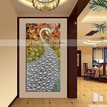 QYYDYH Artículos Hechos a Mano más vendidos Arte de la Pared Pinturas Modernas con un Cuchillo Pavo Real Pintura al óleo sobre Lienzo Decoración de Casas Interior 100x200cm: Amazon.es: Hogar