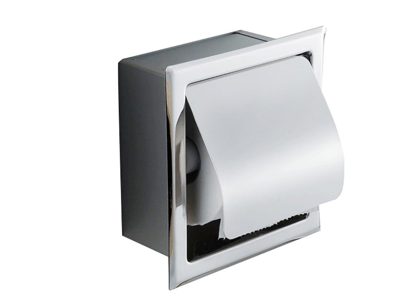 ixaer Recessed Stainless Steel Bathroom Toilet Roll Paper Holder Tissue Dispenser for Bathroom Storage