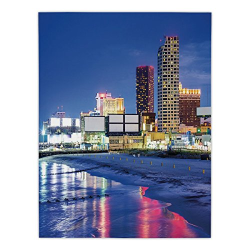iPrint Satin Rectangular Tablecloth [ City,Resort Casinos on Shore at Night Atlantic City New Jersey United States,Violet Blue Pink Yellow ] Dining Room Kitchen Table Cloth Cover -